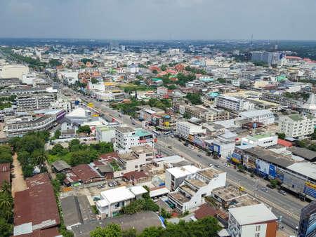 Korat, Nakhon Ratchasima , Thailand - July 23, 2017 : Aerial view of Nakhon Ratchasima or Korat, Thailand. View from Terminal 21s sky deck
