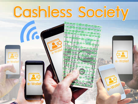 Concept of  Cashless Society, Digital money wallet