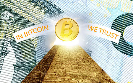 Bitcoin, cryptographically secured chain, In god we trust concept