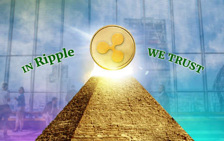 Ripple, Cryptocurrency  secured chain, In god we trust concept