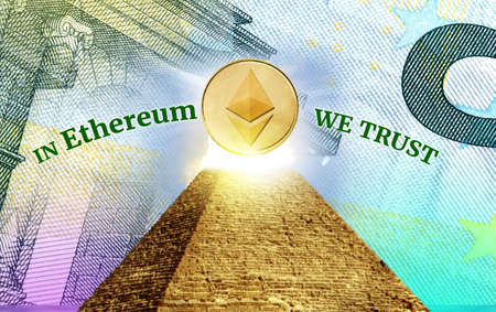trust god: Ethereum, Cryptocurrency  secured chain, In god we trust concept