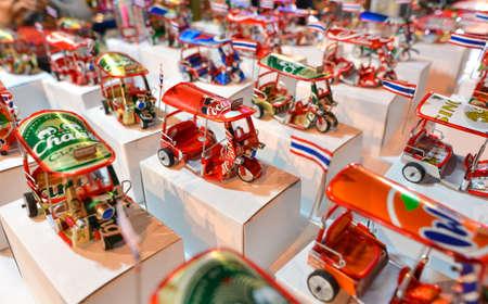 Chiang Mai, Thailand - Jan 14, 2017 :  Tuk Tuk handicraft from soda can for sale at Chiang mai street walk  Stock Photo