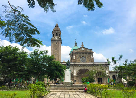 The Manila Cathedral, Intramuros old town Manila, Philippines. Banco de Imagens