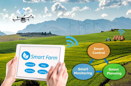 Smart farming, Hi-Tech Agriculture conceptual picture, AI automatic