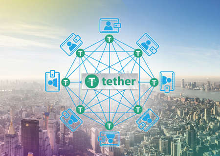 Concept of  Tether Coin aka. USDT, a Cryptocurrency blockchain platform , Digital money