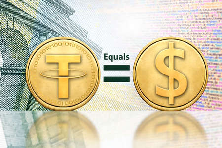 Concept of Tether (or USDT) equals to1 US Dollar,  Cryptocurrency  Stock Photo