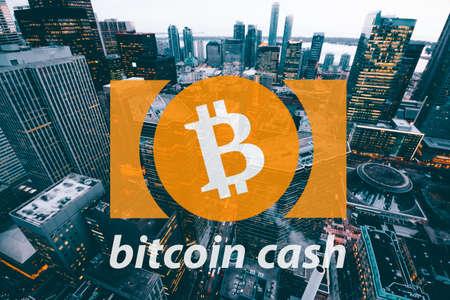 Bitcoin 현금, Cryptocurrency 블록 체인, 디지털 돈의 개념 스톡 콘텐츠