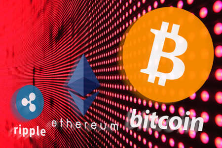 Concept of  Bitcoin, ethereum and ripple race, Cryptocurrency age