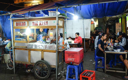 Bali, Indonesia - September 9, 2017 : Food stall at Bali local night market, Bakso or Chicken noodle Editorial