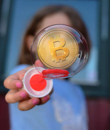 Concept of  Bitcoin Bubble,a Cryptocurrency blockchain platform , Price rising