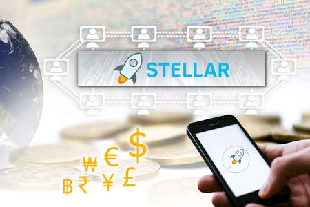 Concept of Stellar Coin, a Cryptocurrency blockchain platform , Digital money Stock Photo