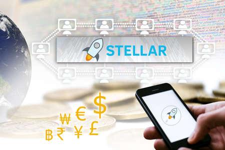 Concept of Stellar Coin, a Cryptocurrency blockchain platform , Digital money 스톡 콘텐츠