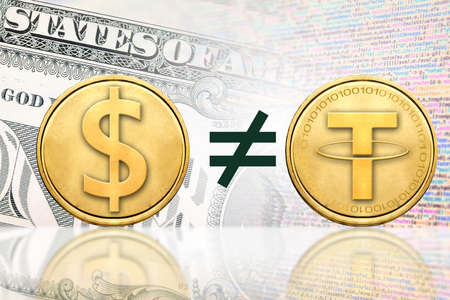 Concept of Tether (or USDT) unequal to1 US Dollar,  Cryptocurrency Stock Photo