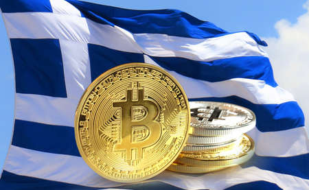 Bitcoin coins on Greece flag, Cryptocurrency concept photo