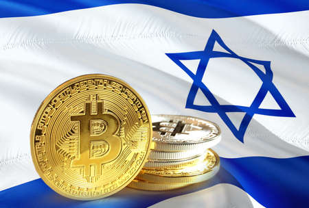 Bitcoin coins on Israel's flag, Cryptocurrency concept Stock Photo - 96862880