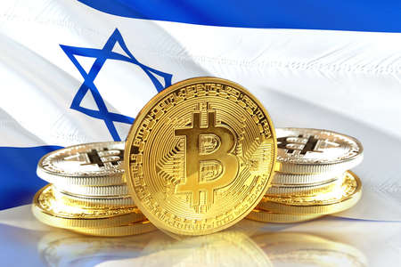 Bitcoin coins on Israels flag, Cryptocurrency concept photo