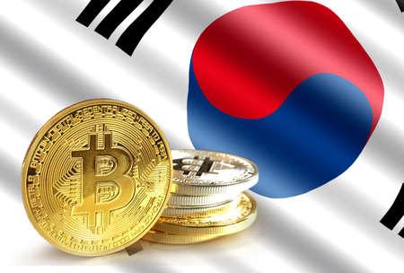 Bitcoin coins on Koreas flag, Cryptocurrency concept photo  Stock Photo