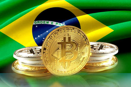 Bitcoin coins on  brazils flag, Cryptocurrency concept photo