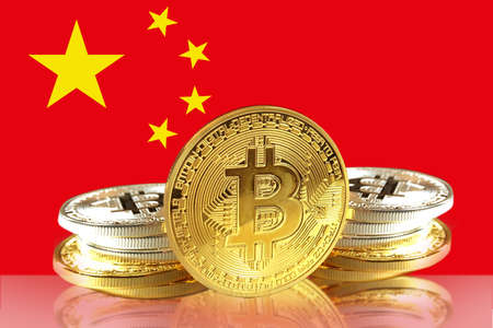 Bitcoin coins on Chinas Flag, Cryptocurrency concept photo