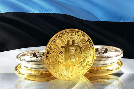 Bitcoin coins on Estonias Flag, Cryptocurrency concept photo