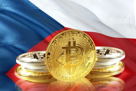 Bitcoin coins on Czech Republic s Flag, Cryptocurrency, Digital money concept photo