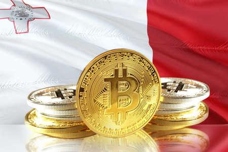 Bitcoin coins on Maltas Flag, Cryptocurrency, Digital money concept photo