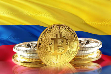 Bitcoin coins on Colombias Flag, Cryptocurrency, Digital money concept photo