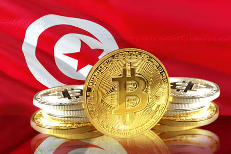 Bitcoin coins on  Tunisias Flag, Cryptocurrency, Digital money concept photo  Stock Photo