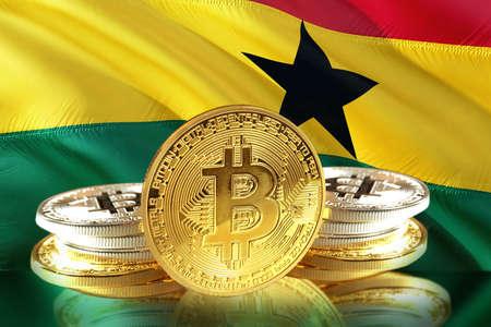 Bitcoin coins on Ghanas Flag, Cryptocurrency, Digital money concept photo Stock Photo