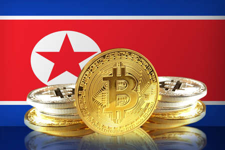 Bitcoin coins on North Koreas Flag, Cryptocurrency, Digital money concept photo