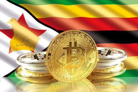 Bitcoin coins on Zimbabwes Flag, Cryptocurrency, Digital money concept photo Stock Photo