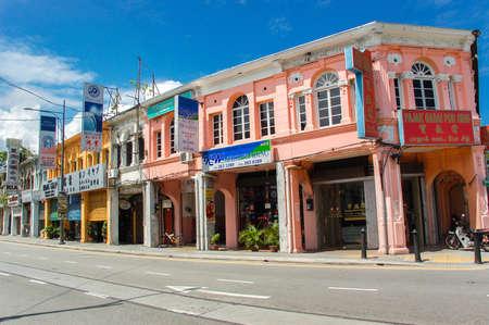 George Town, Malaysia - 11. November: Heritage-Häuser in George Town, Penang, Malaysia. George Town ist eines der beliebtesten Reiseziele in Malaysia. 11. November 2009