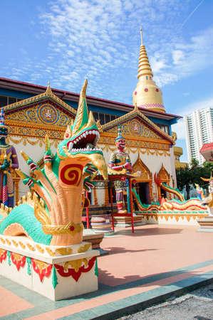 Wat Chaiyamangalaram, Thai temple with sleeping Buddha in Penang, Malaysia