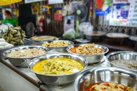 Multi color curry recipe, Thai style, Street food at Don Wai Floating Market