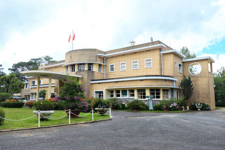 view front of The summer palace in art deco style of Bao Dai, the last emperor of Vietnam Editorial
