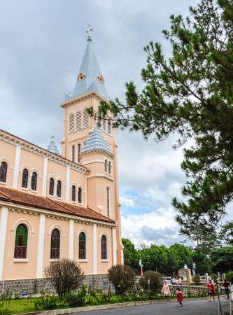 Dalat, Vietnam - May 2, 2018 :  Chicken Church or Dalat Cathedral is located on Tran Phu Street in Dalat.