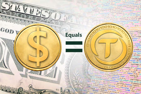 Concept image of TrueUSD or TUSD equal to1 US Dollar,  Cryptocurrency