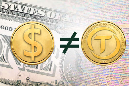 Concept image of TrueUSD or TUSD unequal to1 US Dollar,  Cryptocurrency