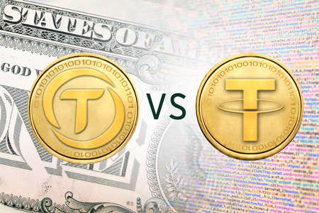 Concept image of  TrueUSD coin versus Tether coin, Cryptocurrency Stock Photo