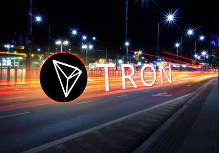 Concept of TRON coin moving fast  on the road, a Cryptocurrency blockchain platform , Digital money