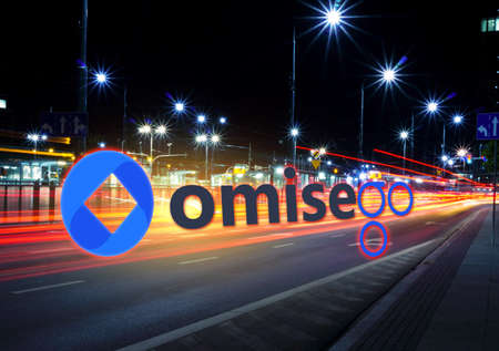 Concept of omisego coin moving fast  on the road, a Cryptocurrency blockchain platform , Digital money