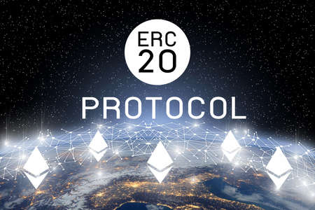 Concept of  Ethereum ERC20 Token technology,   Cryptocurrency blockchain platform , Digital money