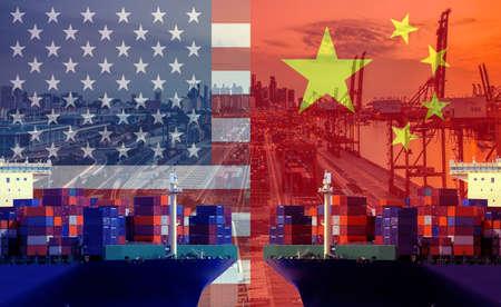 Imagen conceptual de la guerra comercial entre Estados Unidos y China, conflicto económico, aranceles estadounidenses sobre las exportaciones a China, fricciones comerciales