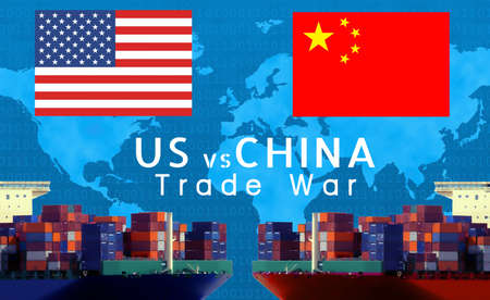Concept image of  USA-China-EU trade war, Economy conflict, US tariffs on exports to China and EU, Trade frictions Reklamní fotografie