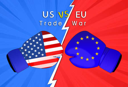 Concept image of  USA-EU trade war, Economy conflict, US tariffs on exports to EU, Trade frictions
