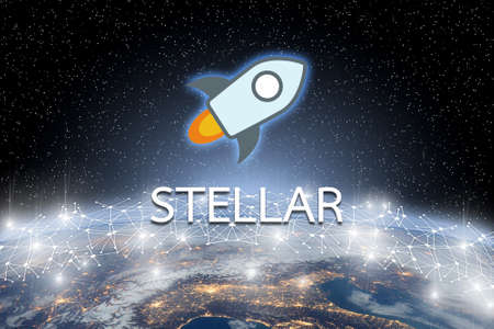 Concept of Stellar coin Levitating  over world network, a Cryptocurrency blockchain platform , Digital money Stock Photo
