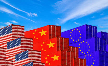 Concept image of  USA-China-EU trade war, Economy conflict, US tariffs on exports to China and EU, Trade frictions Фото со стока