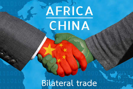 Concept image of  Handshakes between China-Africa, economic relations, Bilateral trade, China invest in  Africa 版權商用圖片