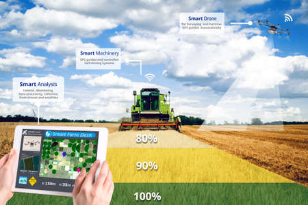 Smart farming, Hi-Tech Agriculture revolution, Drone AI automatic, Conceptual Stockfoto