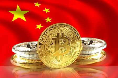 Bitcoin coins on China  Flag, Cryptocurrency, Digital money concept photo